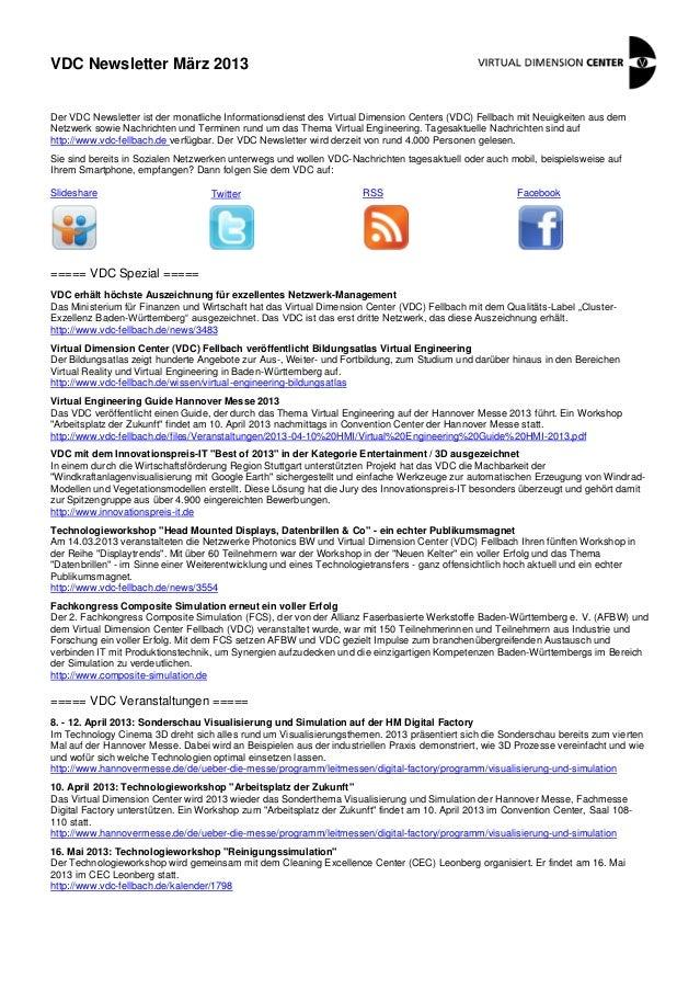 VDC Newsletter März 2013Der VDC Newsletter ist der monatliche Informationsdienst des Virtual Dimension Centers (VDC) Fellb...