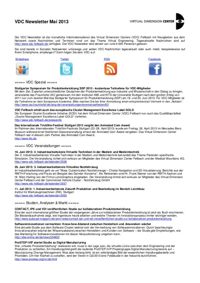 VDC Newsletter Mai 2013Der VDC Newsletter ist der monatliche Informationsdienst des Virtual Dimension Centers (VDC) Fellba...