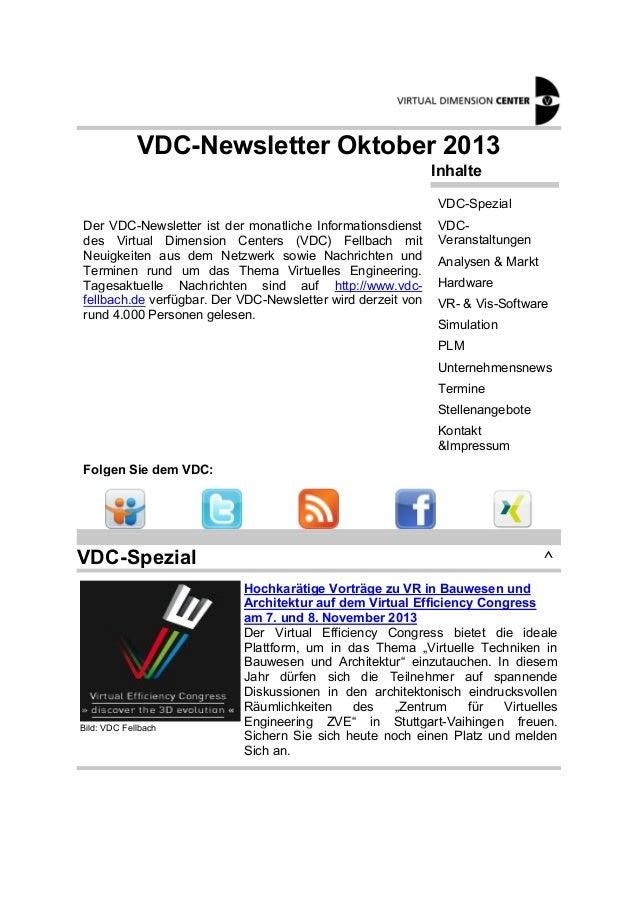 VDC-Newsletter Oktober 2013 Inhalte VDC-Spezial Der VDC-Newsletter ist der monatliche Informationsdienst des Virtual Dimen...