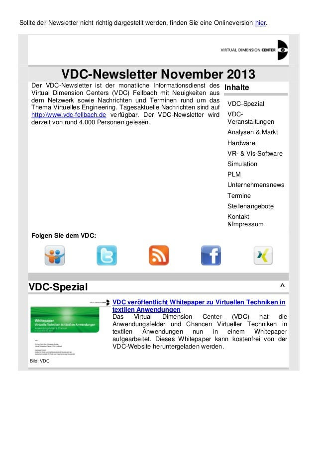 Sollte der Newsletter nicht richtig dargestellt werden, finden Sie eine Onlineversion hier.  VDC-Newsletter November 2013 ...