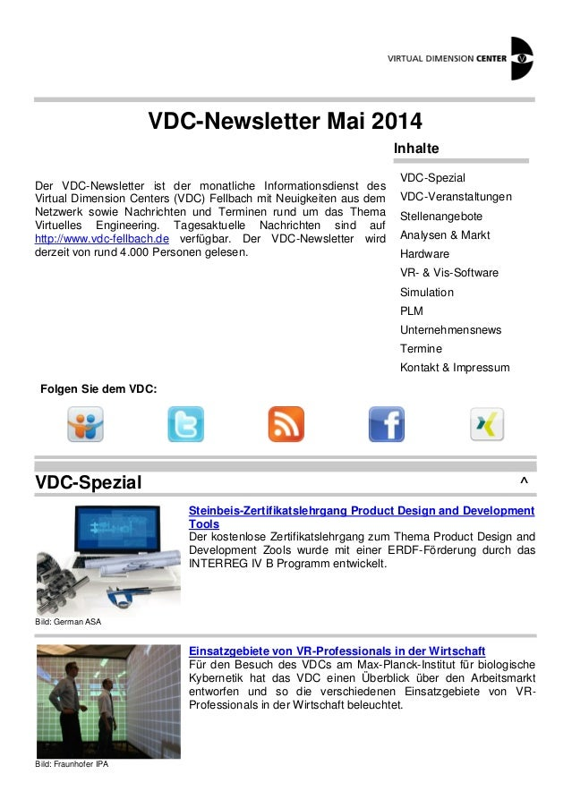 VDC-Newsletter Mai 2014 Der VDC-Newsletter ist der monatliche Informationsdienst des Virtual Dimension Centers (VDC) Fellb...