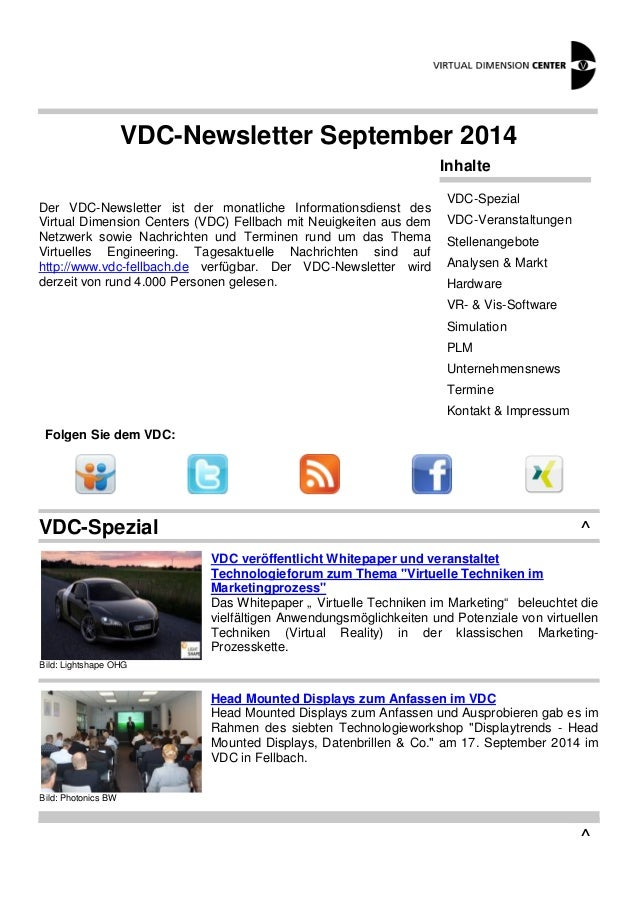 VDC-Newsletter September 2014  Der VDC-Newsletter ist der monatliche Informationsdienst des  Virtual Dimension Centers (VD...