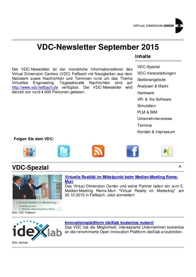 VDC-Newsletter September 2015 Der VDC-Newsletter ist der monatliche Informationsdienst des Virtual Dimension Centers (VDC)...