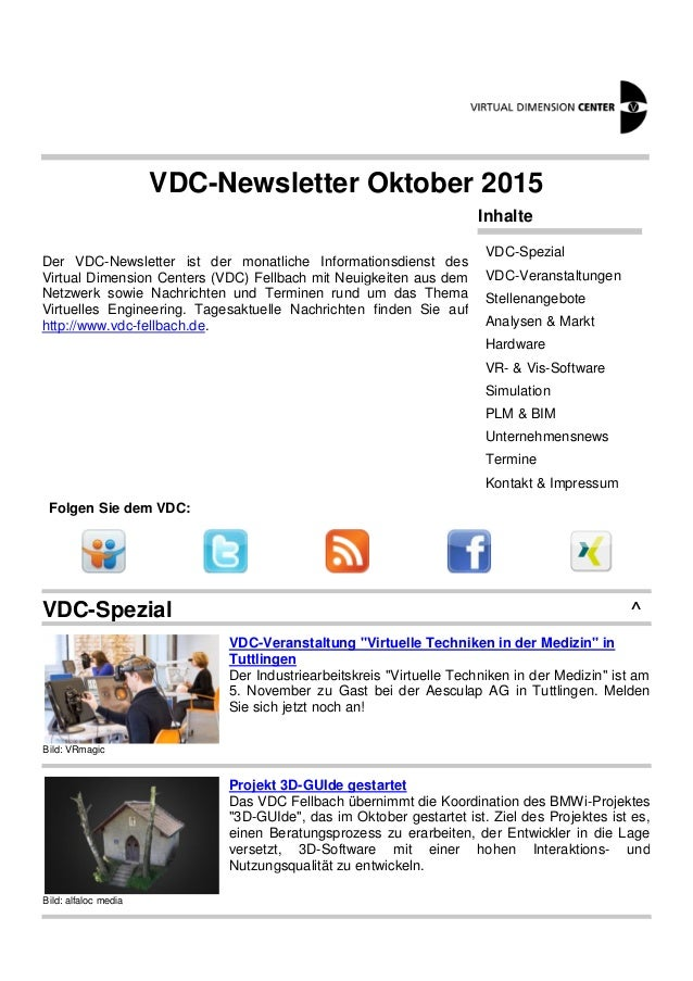 VDC-Newsletter Oktober 2015 Der VDC-Newsletter ist der monatliche Informationsdienst des Virtual Dimension Centers (VDC) F...