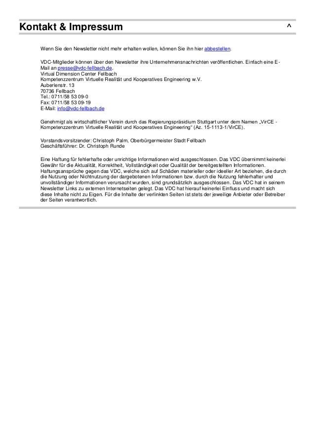 Kontakt & Impressum ^ Wenn Sie den Newsletter nicht mehr erhalten wollen, können Sie ihn hier abbestellen. VDC-Mitglieder ...