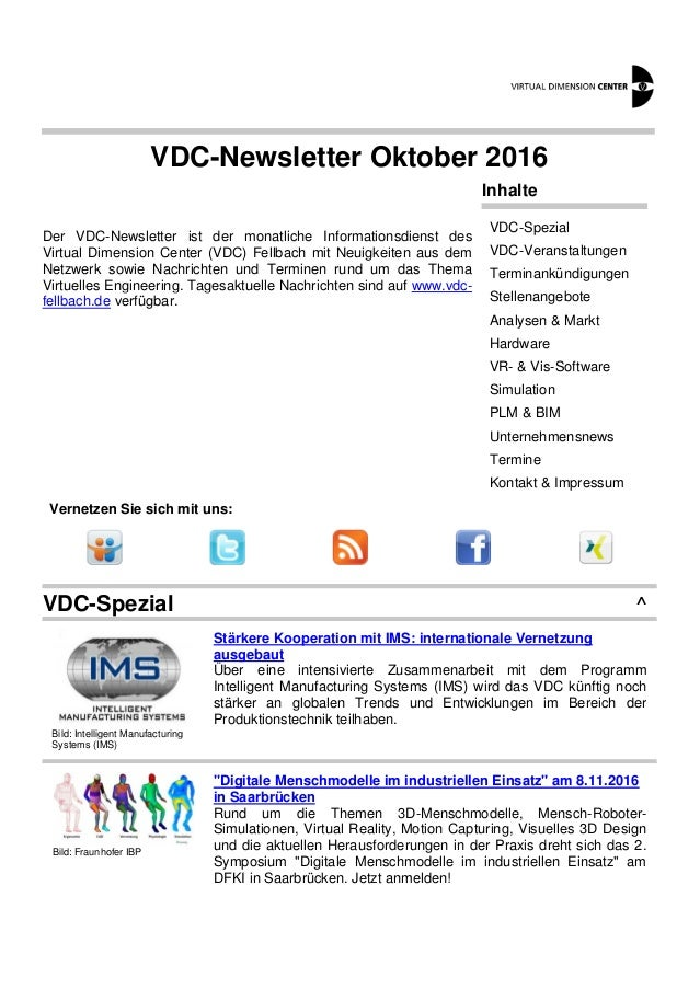 VDC-Newsletter Oktober 2016 Der VDC-Newsletter ist der monatliche Informationsdienst des Virtual Dimension Center (VDC) Fe...
