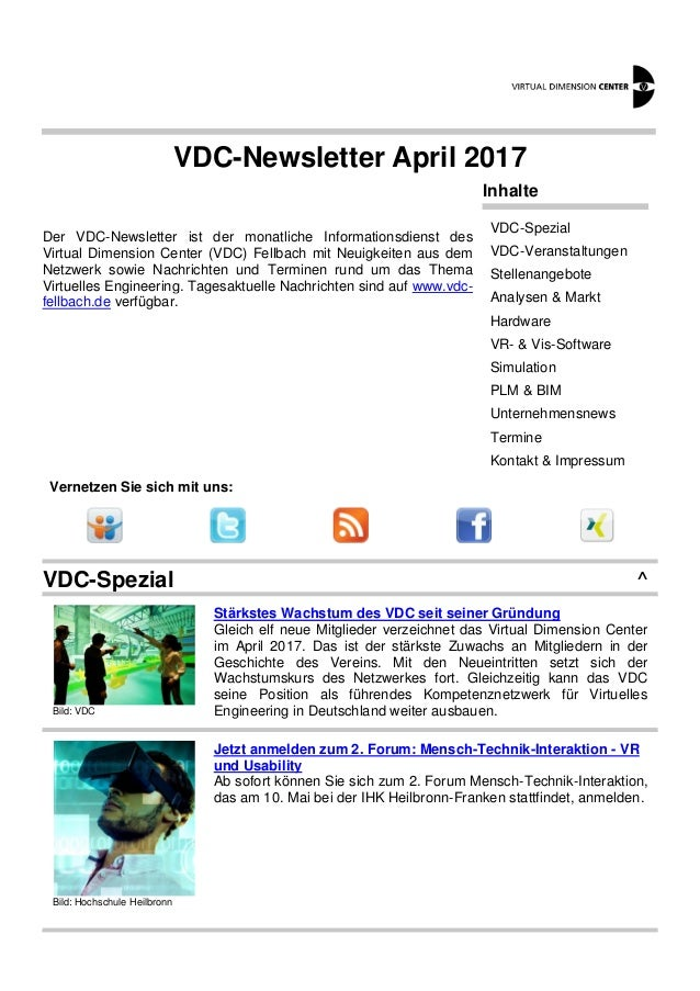 VDC-Newsletter April 2017 Der VDC-Newsletter ist der monatliche Informationsdienst des Virtual Dimension Center (VDC) Fell...
