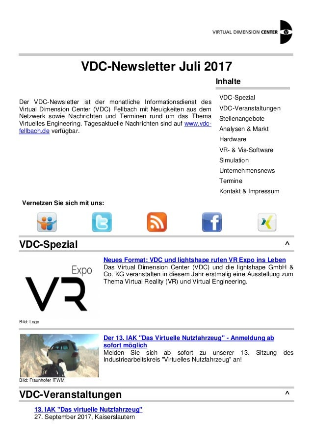 VDC-Newsletter Juli 2017 Der VDC-Newsletter ist der monatliche Informationsdienst des Virtual Dimension Center (VDC) Fellb...
