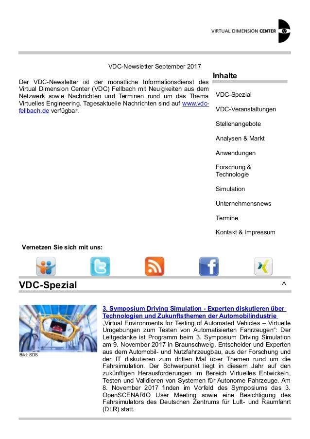 VDC-Newsletter September 2017 Der VDC-Newsletter ist der monatliche Informationsdienst des Virtual Dimension Center (VDC) ...