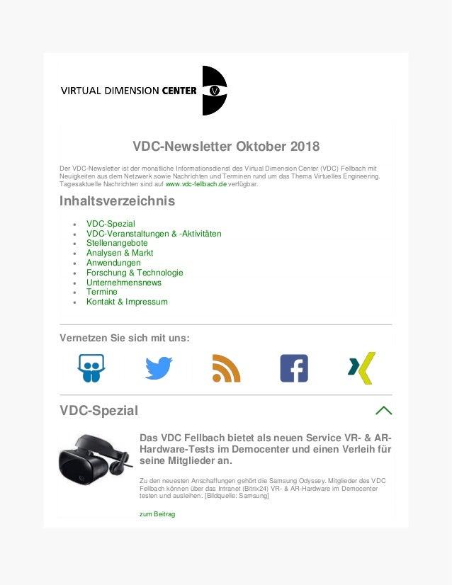 VDC-Newsletter Oktober 2018 Der VDC-Newsletter ist der monatliche Informationsdienst des Virtual Dimension Center (VDC) Fe...