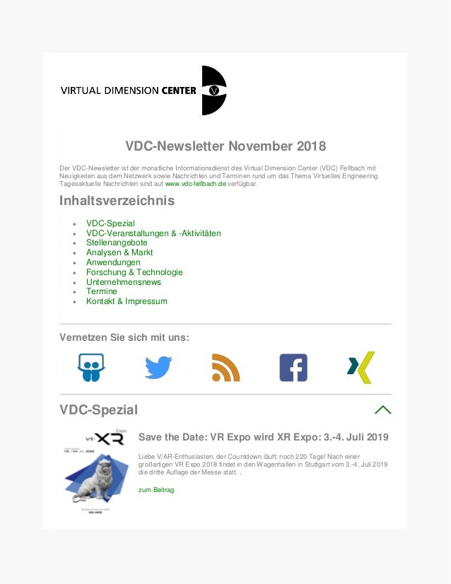 VDC-Newsletter November 2018 Der VDC-Newsletter ist der monatliche Informationsdienst des Virtual Dimension Center (VDC) F...
