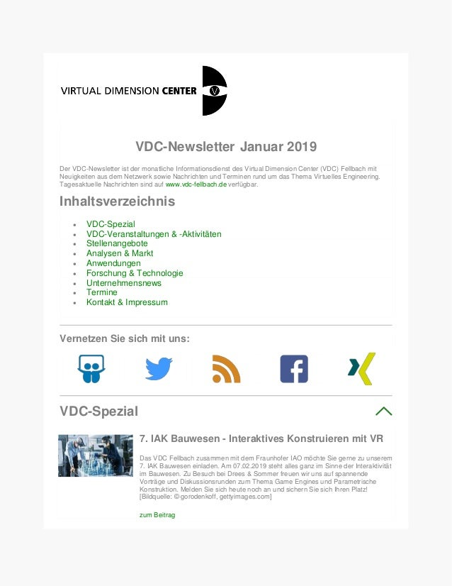 VDC-Newsletter Januar 2019 Der VDC-Newsletter ist der monatliche Informationsdienst des Virtual Dimension Center (VDC) Fel...