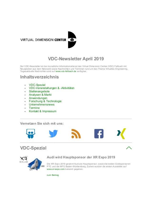VDC Der VDC-Newsletter ist der monatliche Neuigkeiten aus dem Netzwerk sowie Nachrichten und Terminen rund um das Thema Vi...