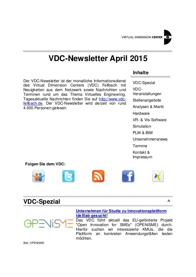 VDC-Newsletter April 2015 Der VDC-Newsletter ist der monatliche Informationsdienst des Virtual Dimension Centers (VDC) Fel...