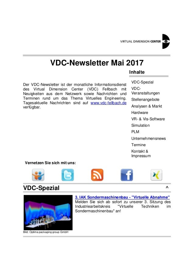 VDC-Newsletter Mai 2017 Der VDC-Newsletter ist der monatliche Informationsdienst des Virtual Dimension Center (VDC) Fellba...
