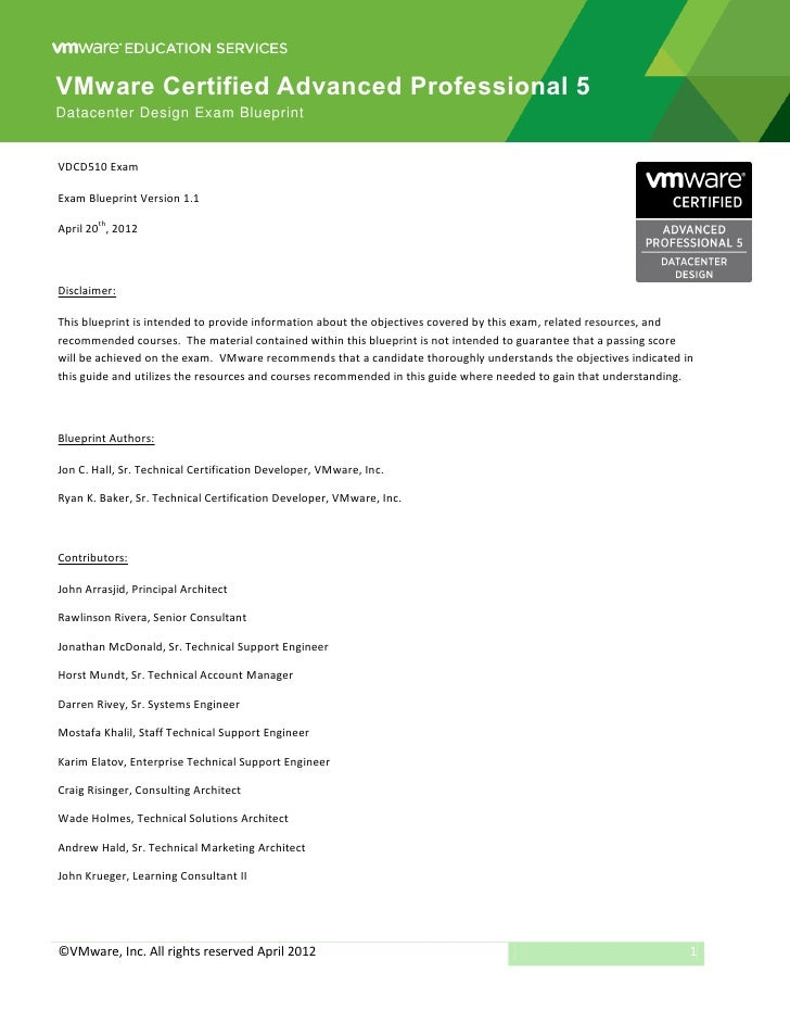 VMware Certified Advanced Professional 5Datacenter Design Exam BlueprintVDCD510 ExamExam Blueprint Version 1.1        thAp...