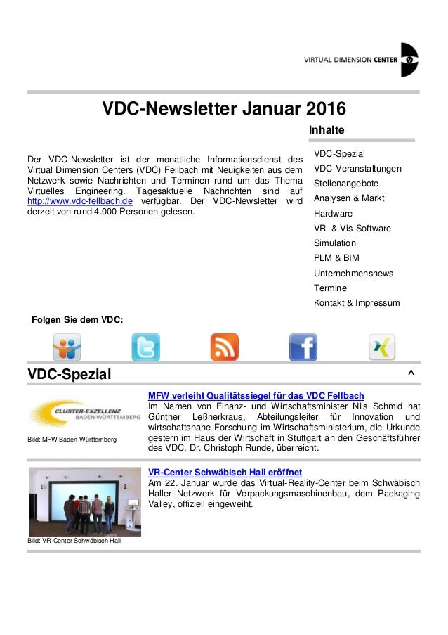 VDC-Newsletter Januar 2016 Der VDC-Newsletter ist der monatliche Informationsdienst des Virtual Dimension Centers (VDC) Fe...