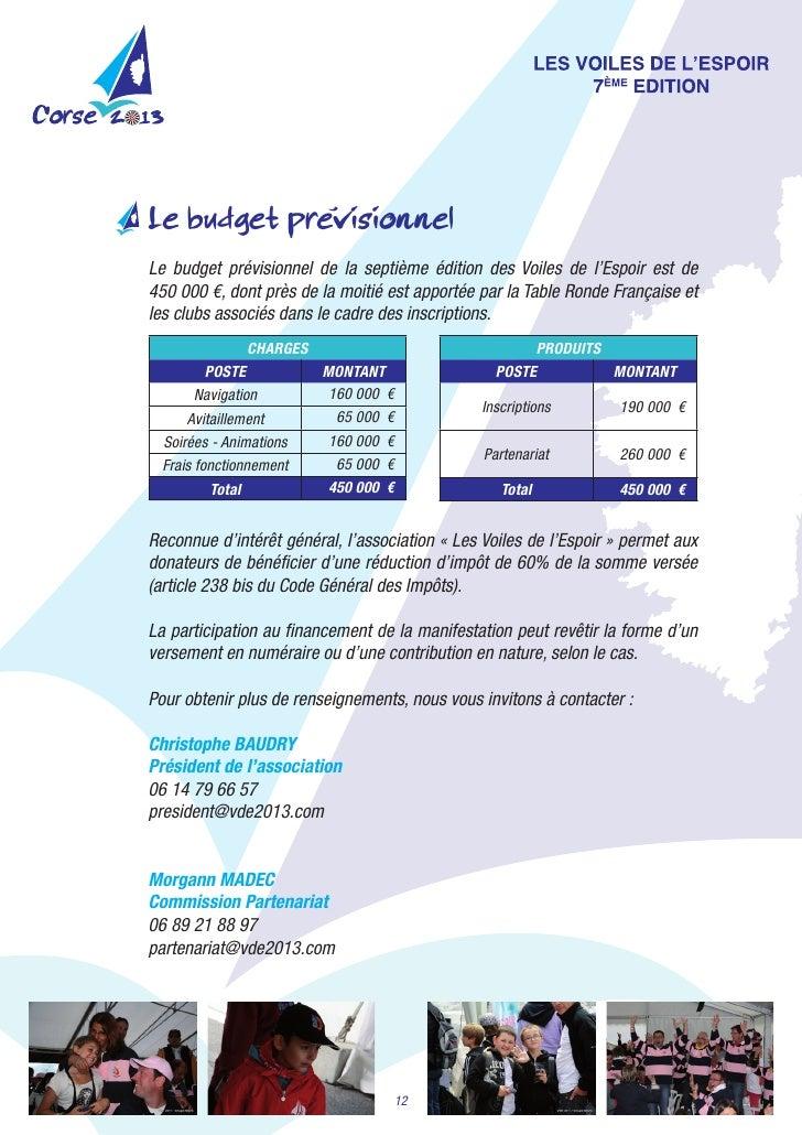 'Le budget previsionnelLe budget prévisionnel de la septième édition des Voiles de l'Espoir est de450000€,...