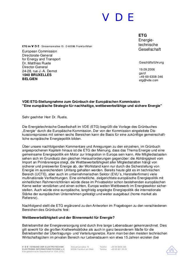 VDE VDEVDEVDEVDE VERBAND DER ELEKTROTECHNIK ELEKTRONIK INFORMATIONSTECHNIK e.V. Stresemannallee 15 60596 Frankfurt am Main...