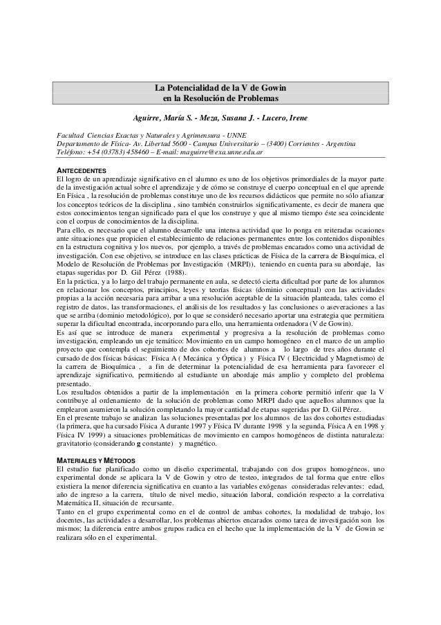 La Potencialidad de la V de Gowin  en la Resolución de Problemas  Aguirre, María S. - Meza, Susana J. - Lucero, Irene  Fac...