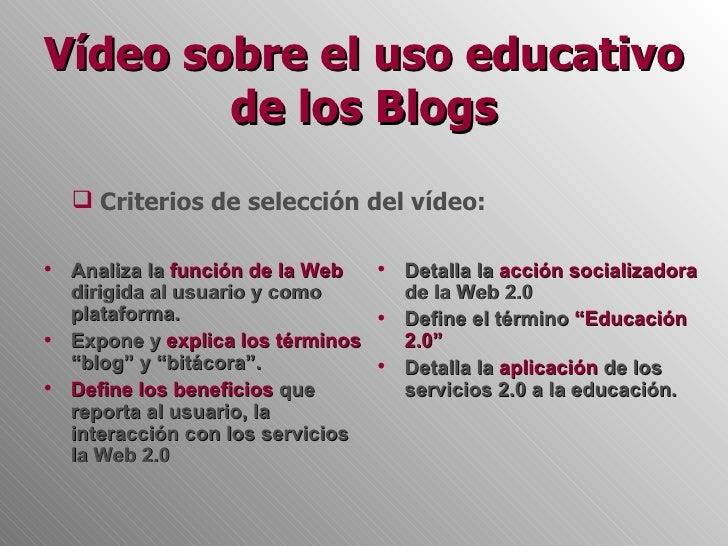 Vídeo sobre el uso educativo de los blogs Slide 3