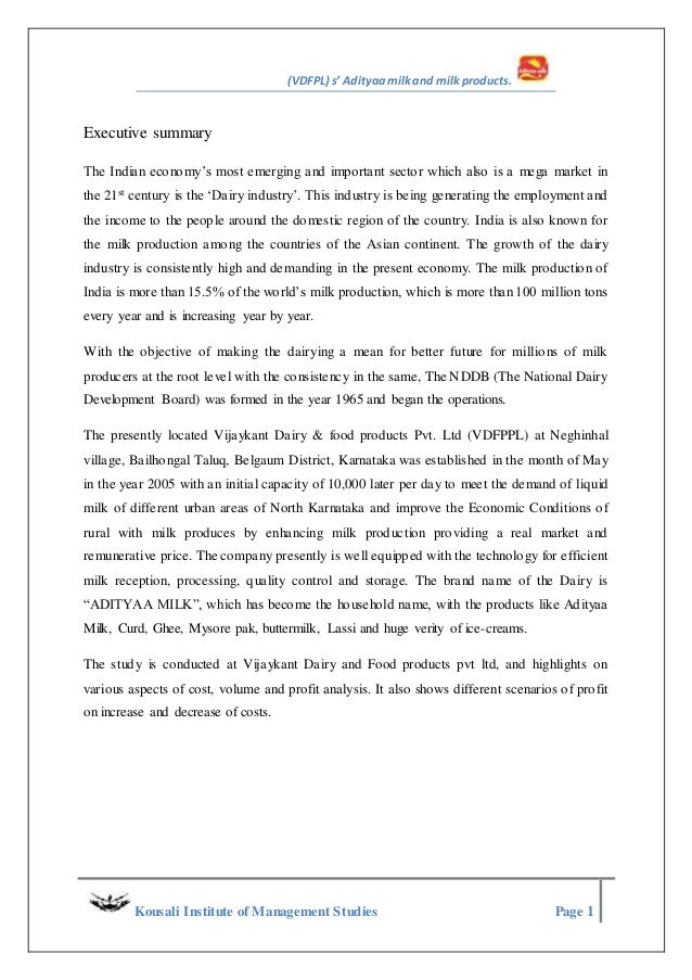 Project Report on Vijaykant Dairy and Food Products Pvt Ltd