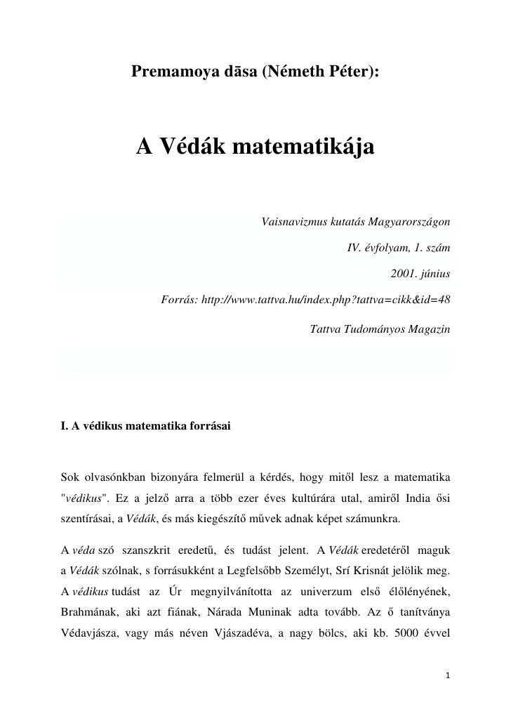 Premamoya dāsa (Németh Péter):                   A Védák matematikája                                          Vaisnavizmu...