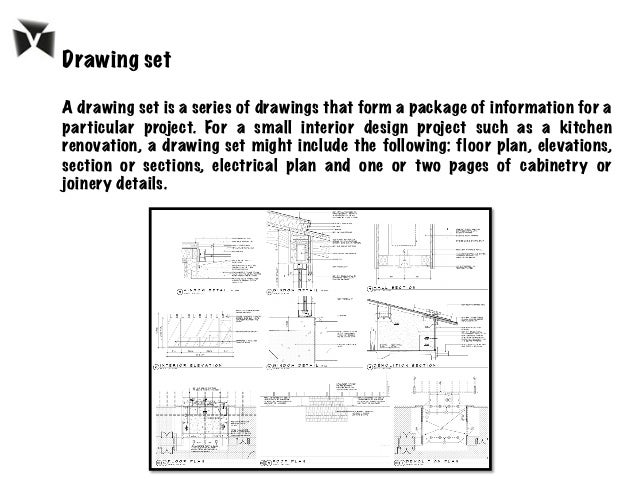 Drawing set A drawing set is a series of drawings that form a package of information for a particular project. For a small...