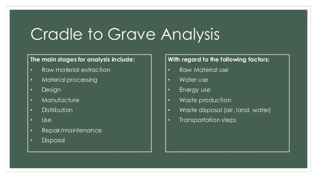 how to write a cradle to grave analysis of paper