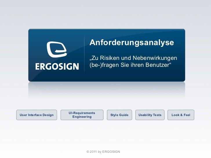 """Anforderungsanalyse                                   """"Zu Risiken und Nebenwirkungen                                   (be..."""
