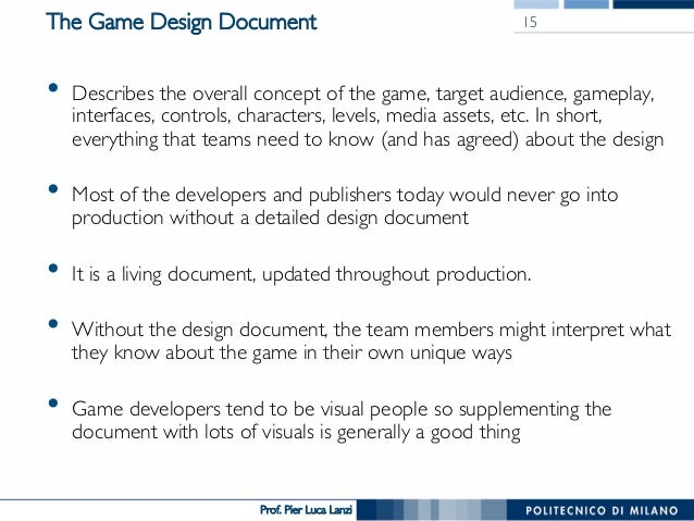 Videogame Design And Programming The Design Document - Game concept document example