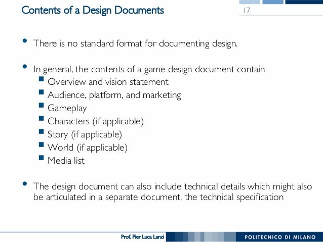 Videogame Design And Programming   The Design Document