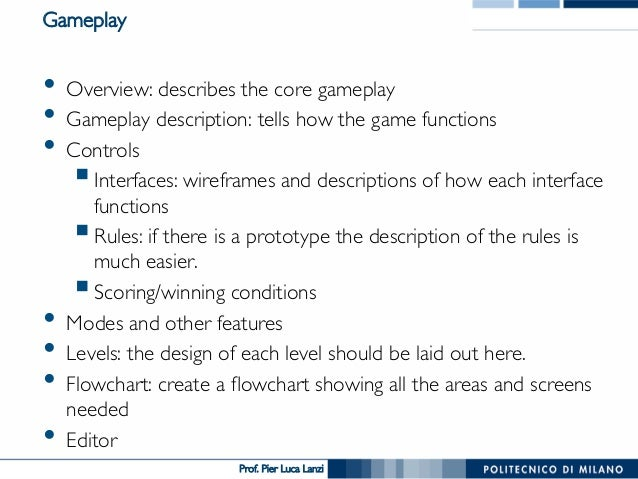 Videogame Design And Programming The Design Document - Video game design document example