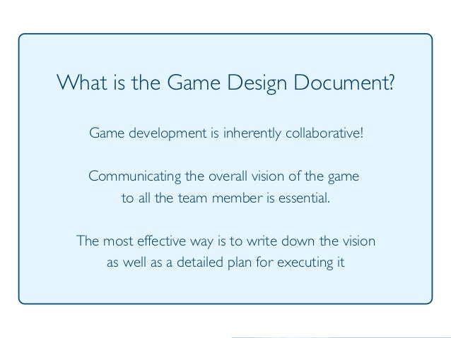 Videogame Design And Programming The Design Document - Video game design document template