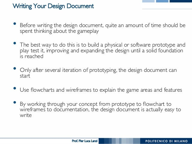 Videogame Design And Programming The Design Document - How to write a game design document
