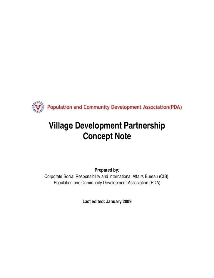 Village Development Partnership            Concept Note                          Prepared by:Corporate Social Responsibili...