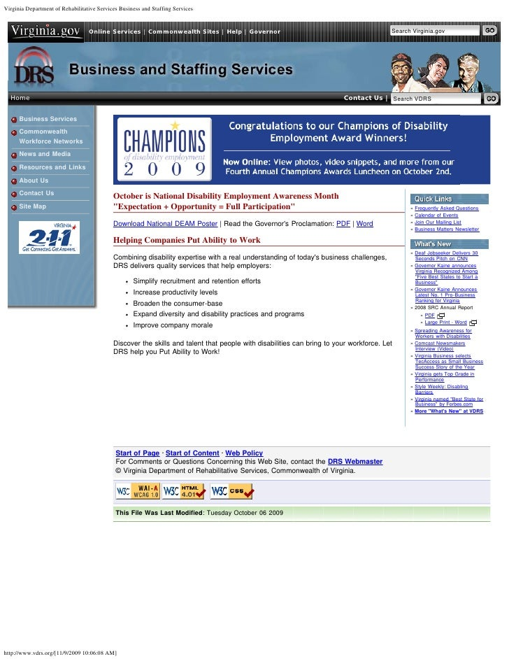 Virginia Department of Rehabilitative Services Business and Staffing Services                                  Online Serv...