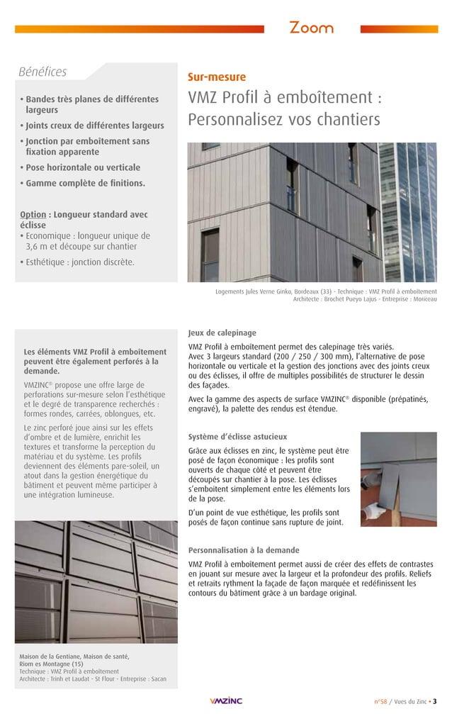 n°58 / Vues du Zinc • 3 • Bandes très planes de différentes largeurs • Joints creux de différentes largeurs • Jonction par...