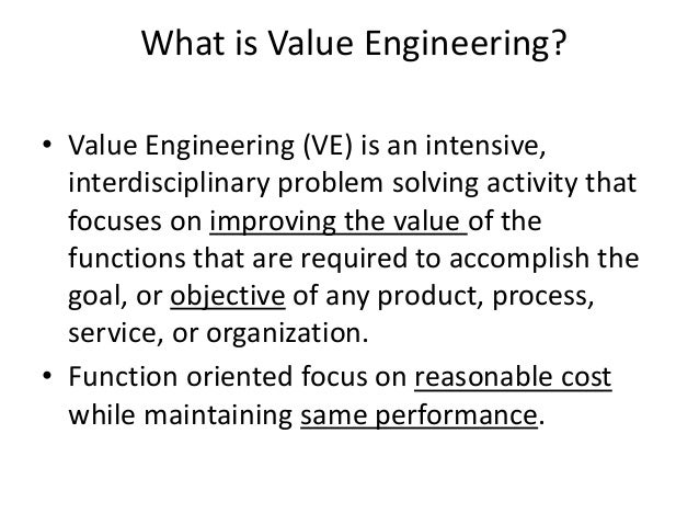 Value engineering concept a brief in construction industry for Value engineered