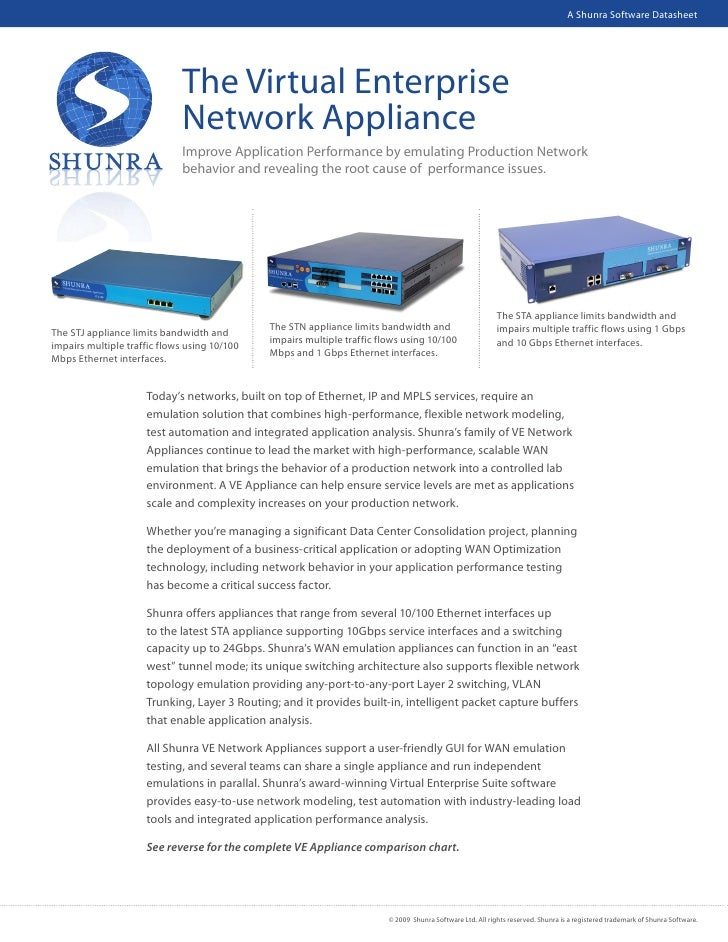 Shunra VE Network Appliance