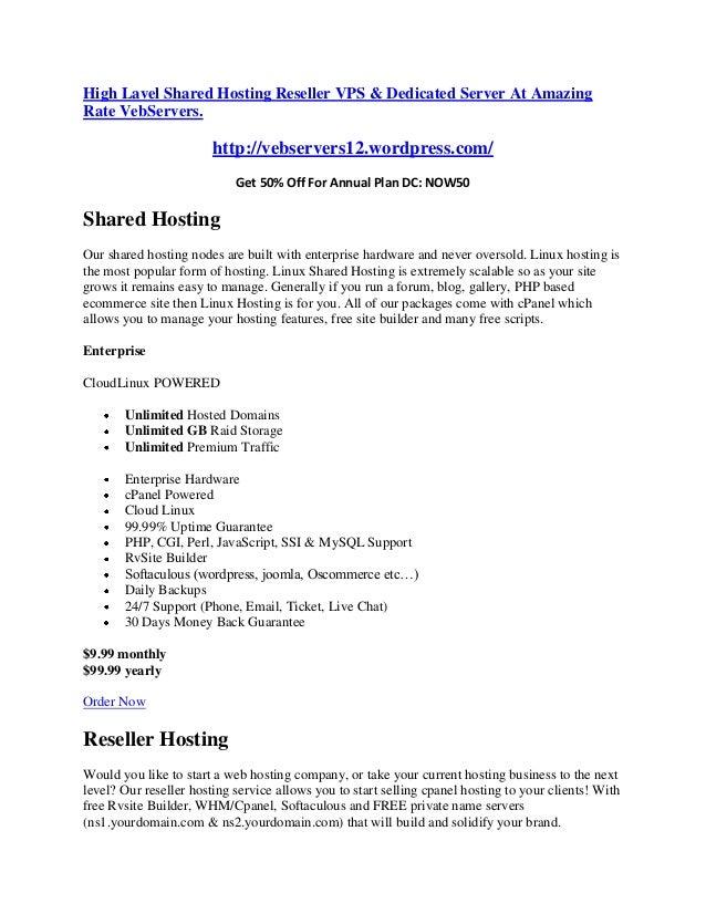 High Lavel Shared Hosting Reseller VPS & Dedicated Server At Amazing Rate VebServers. http://vebservers12.wordpress.com/ G...