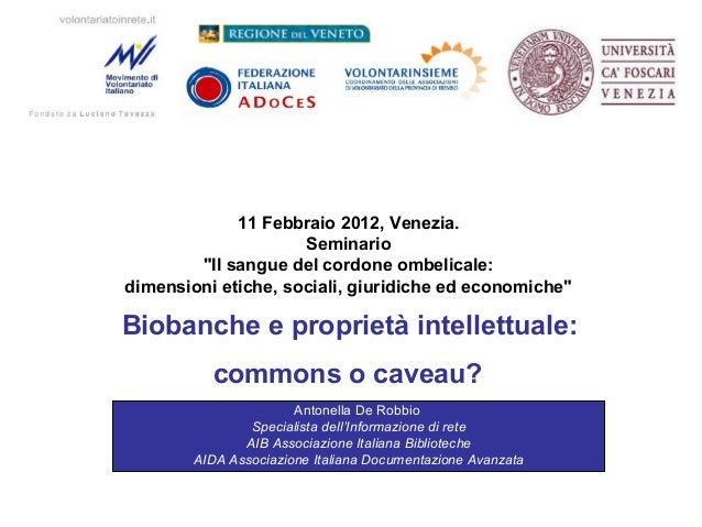 """11 Febbraio 2012, Venezia. Seminario """"Il sangue del cordone ombelicale: dimensioni etiche, sociali, giuridiche ed economic..."""