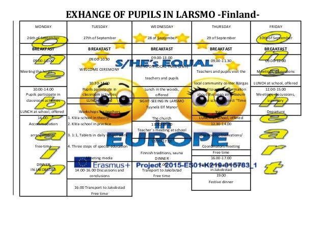 EXHANGE OF PUPILS IN LARSMO -Finland- MONDAY TUESDAY WEDNESDAY THURSDAY FRIDAY 26th of September 27th of September 28 of S...