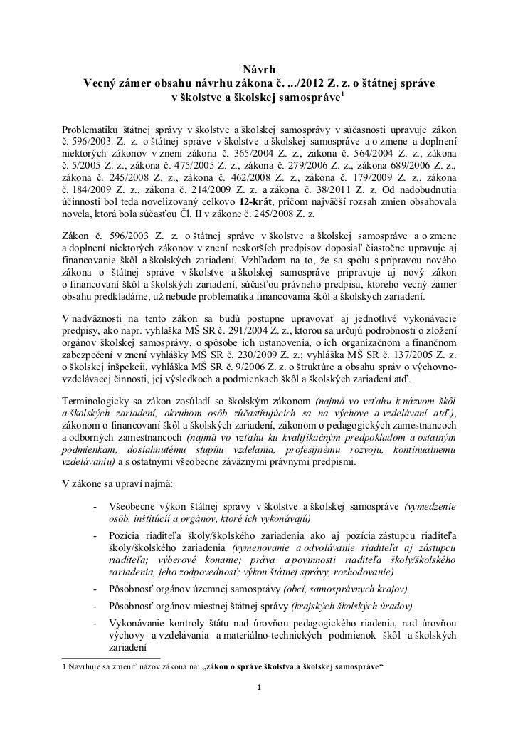 Vecny obsah zakona o statnej sprave a skolskej samosprave