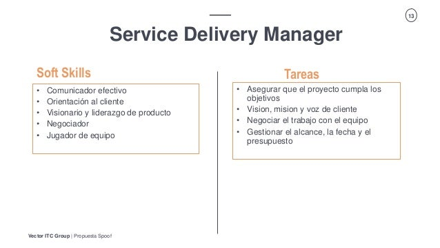 Vector ITC Group   Propuesta Spoof 13 Service Delivery Manager Tareas • Comunicador efectivo • Orientación al cliente • Vi...