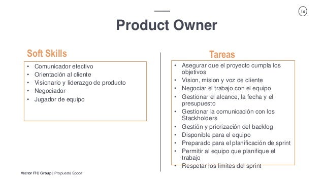 Vector ITC Group   Propuesta Spoof 14 Product Owner Tareas • Comunicador efectivo • Orientación al cliente • Visionario y ...