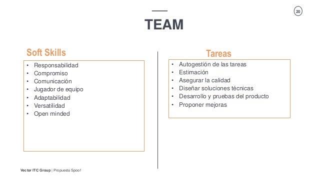 Vector ITC Group   Propuesta Spoof 20 TEAM Tareas • Responsabilidad • Compromiso • Comunicación • Jugador de equipo • Adap...