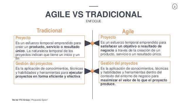 Vector ITC Group   Propuesta Spoof 2 AGILE VS TRADICIONAL ENFOQUE Agile Proyecto Es un esfuerzo temporal emprendido para c...
