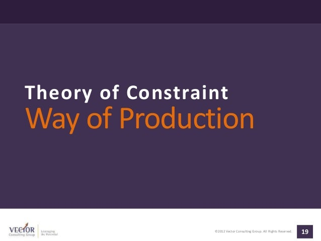 ©2012 Vector Consulting Group. All Rights Reserved. 19 Theory of Constraint Way of Production