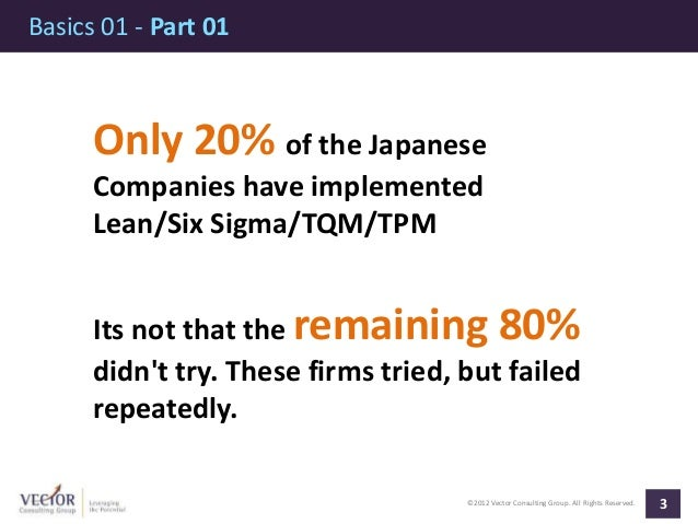 ©2012 Vector Consulting Group. All Rights Reserved. Basics 01 - Part 01 3 Only 20% of the Japanese Companies have implemen...